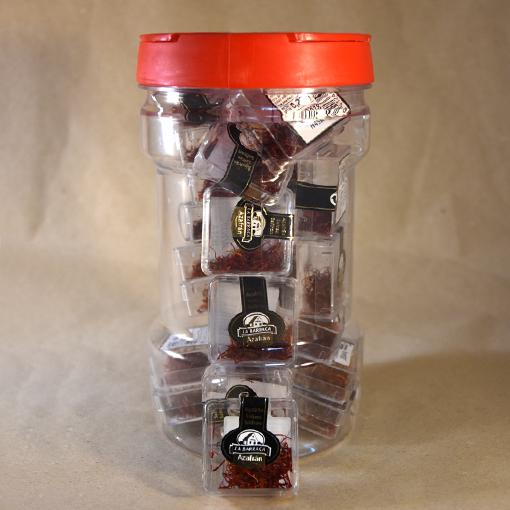 azafrán en hebras, caja de plástico, especias, la barraca