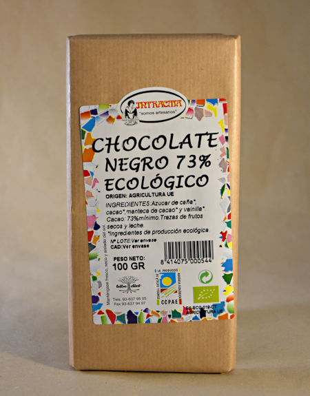 chocolate negro, 73%, ecologico, intracma